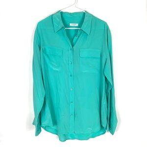 Equipment 100% silk button down blouse sz:LRG
